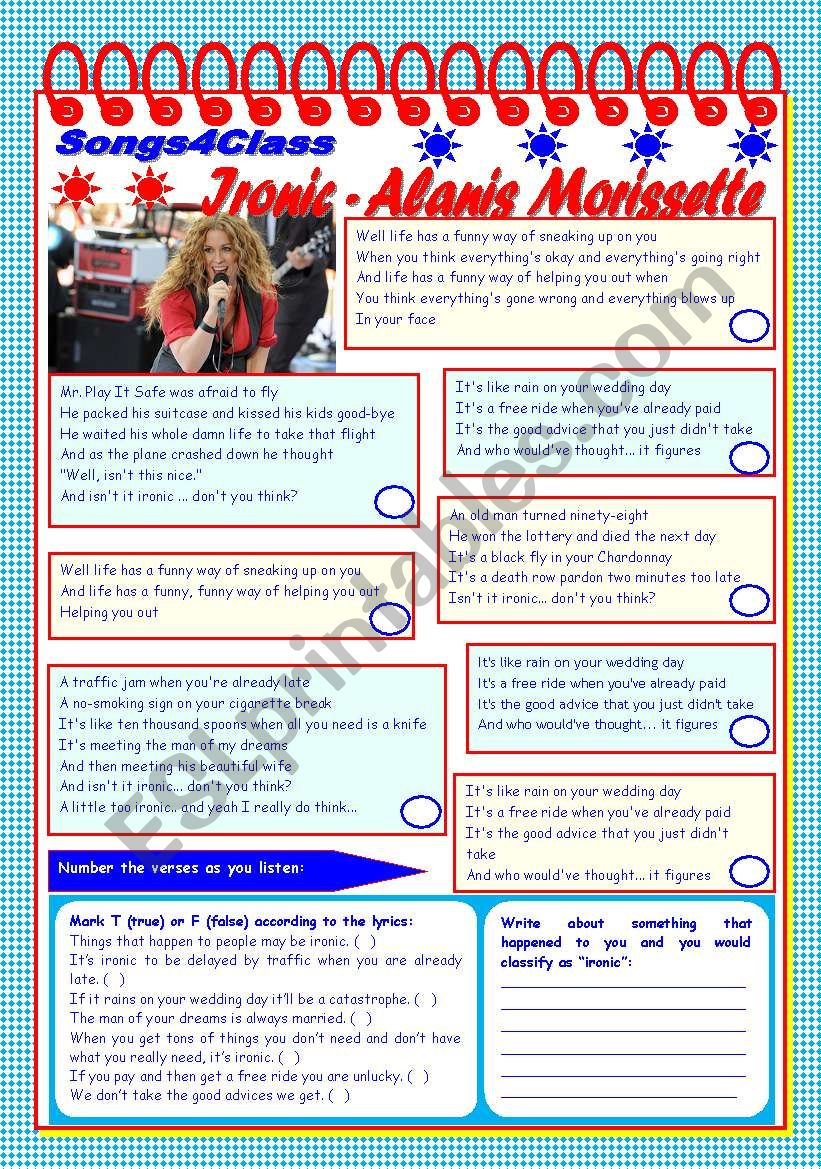 Songs4Class: Ironic – Alanis Morissette – listening + comprehension [4 tasks + tasks suggested] ((2 pages)) ***editable